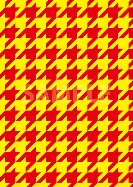 赤と黄色のハウンドトゥース柄のA4サイズ背景素材