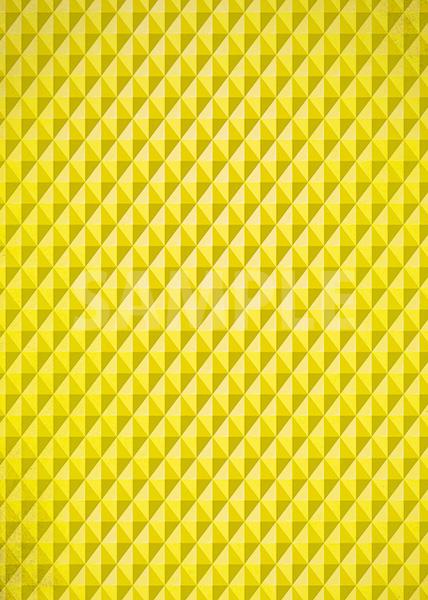 黄色の三角が並び立体的に見えるA4サイズ背景素材
