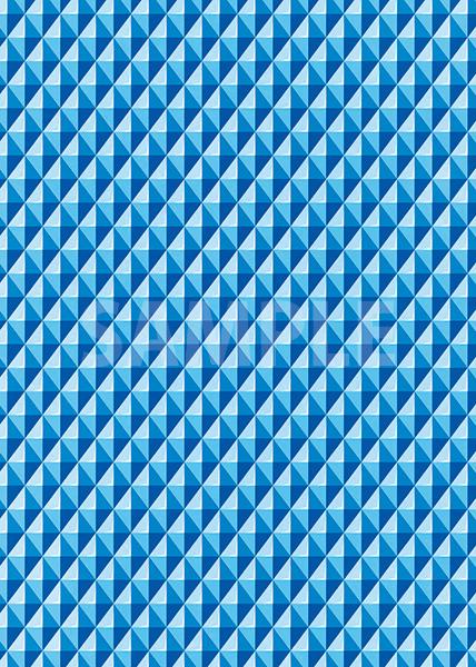 青色の三角が並び立体的に見えるA4サイズ背景素材