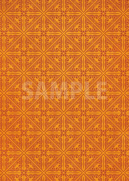 オレンジ色のエスニック調A4サイズ背景素材