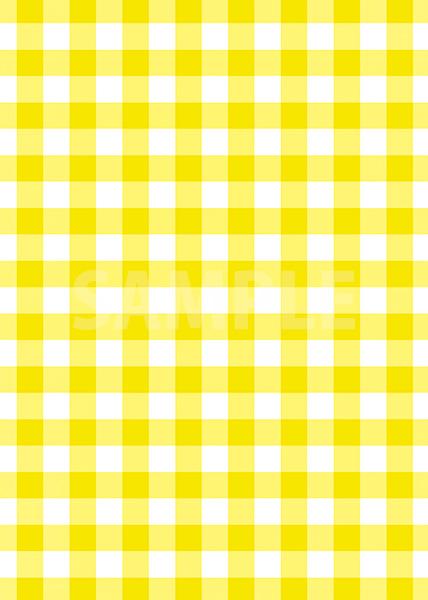 黄色のギンガムチェック柄A4サイズ背景素材
