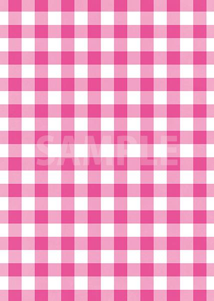 ピンク色のギンガムチェック柄A4サイズ背景素材