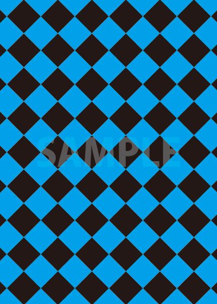 青と黒色のハーリキンチェック柄A4サイズ背景素材
