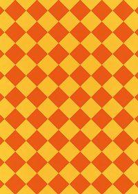 オレンジ色のハーリキンチェック柄A4サイズ背景素材
