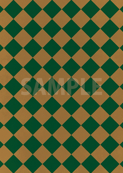 茶色と緑色のハーリキンチェック柄A4サイズ背景素材