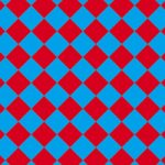 青色と赤色のハーリキンチェック柄A4サイズ背景素材