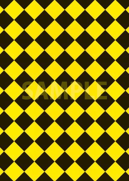 黒色と黄色のハーリキンチェック柄A4サイズ背景素材