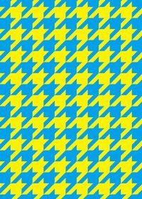 青と黄色のハウンドトゥース柄A4サイズ背景素材