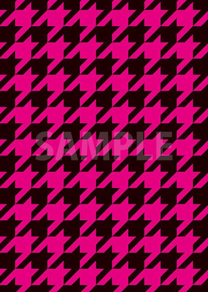 黒とピンクのハウンドトゥース柄A4サイズ背景素材