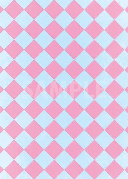 水色とピンク色のハーリキンチェック柄A4サイズ背景素材
