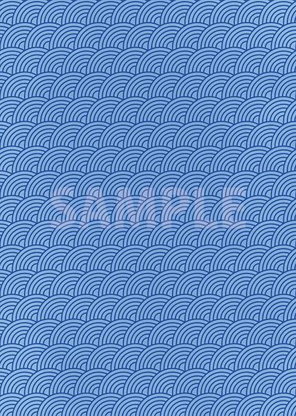 斜めに傾いた青色の青海波柄A4サイズ背景素材