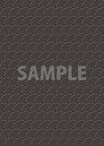 斜めに傾いた黒色の青海波柄A4サイズ背景素材