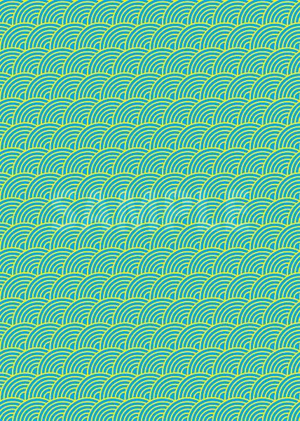 斜めに傾いた水色と黄色の青海波柄A4サイズ背景素材
