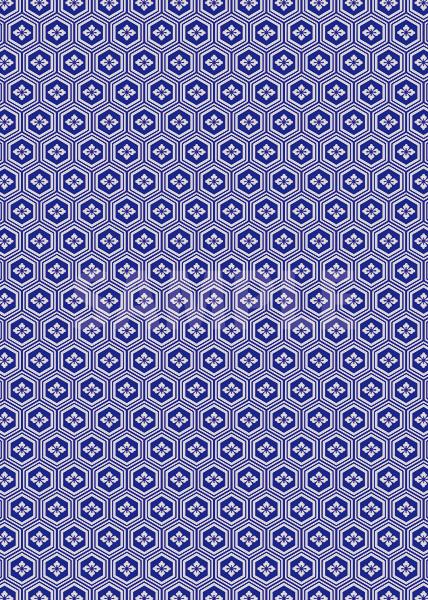 紺色の亀甲柄A4サイズ背景素材