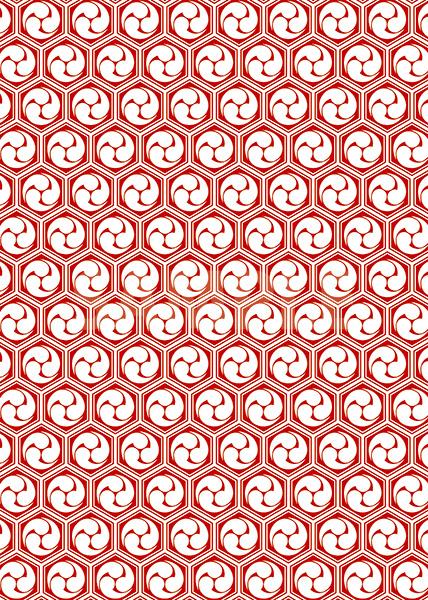 赤と白の巴柄A4サイズ背景素材