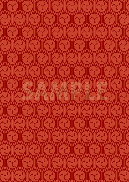 赤色の巴柄A4サイズ背景素材
