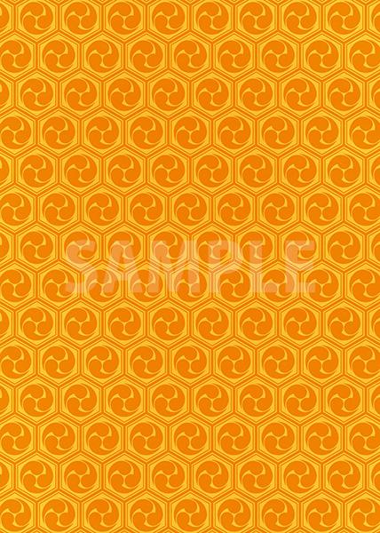 オレンジ色の巴柄A4サイズ背景素材