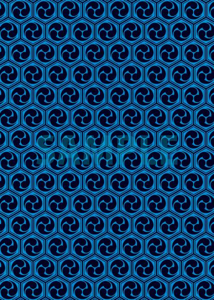 黒と青の巴柄A4サイズ背景素材