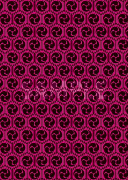 黒とピンクの巴柄A4サイズ背景素材