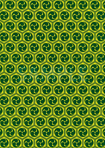 緑と黄色の巴柄A4サイズ背景素材