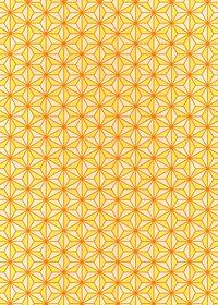 オレンジ色の麻の葉柄A4サイズ背景素材