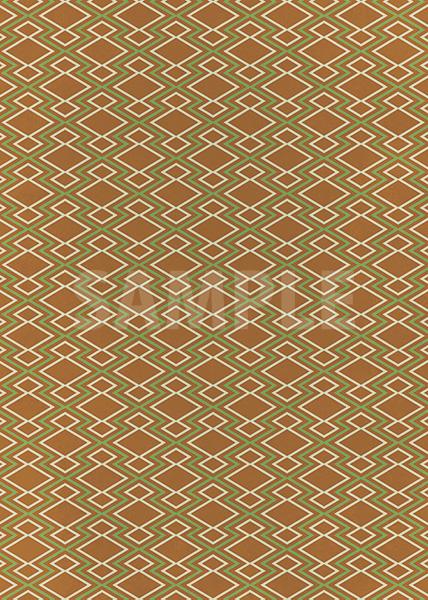 茶色と緑色の松皮菱柄A4サイズ背景素材