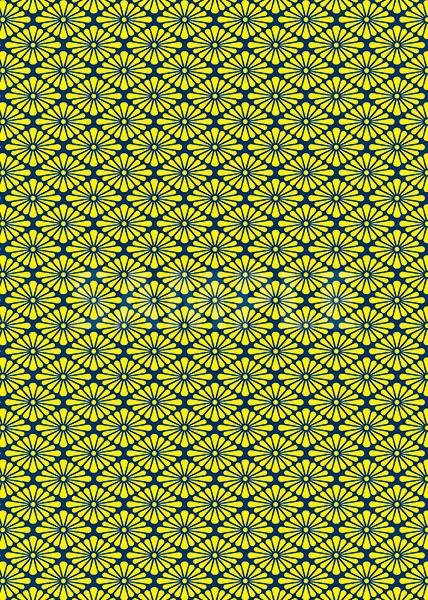 紺と黄色の菊菱柄A4サイズ背景素材
