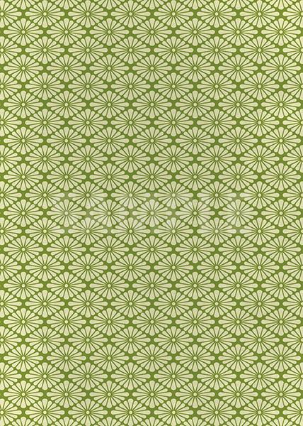 緑色の菊菱柄A4サイズ背景素材