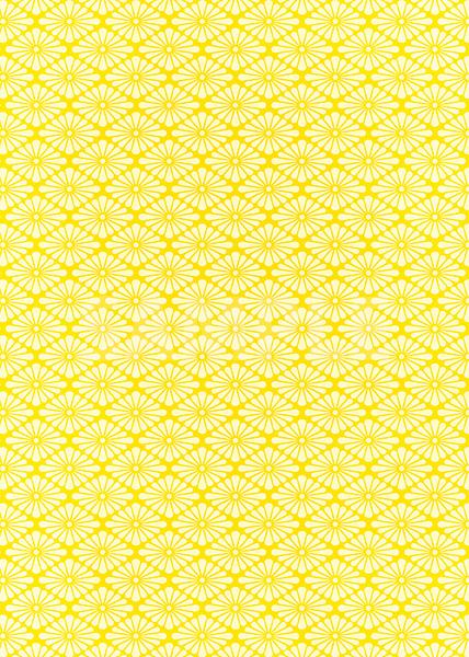 黄色の菊菱柄A4サイズ背景素材