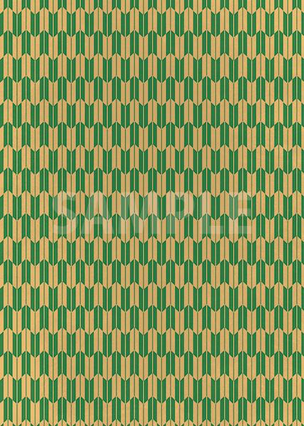 緑と茶色の矢絣・和柄のA4サイズ背景素材