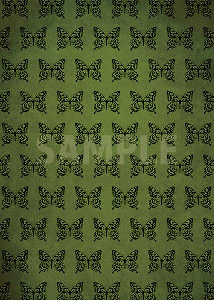 アゲハチョウのイラストが並ぶ緑色のA4サイズ背景素材