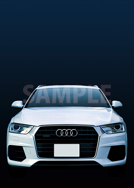 白い車正面・青背景のA4サイズ背景素材データ