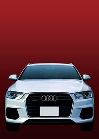 白い車正面・赤背景のA4サイズ背景素材データ