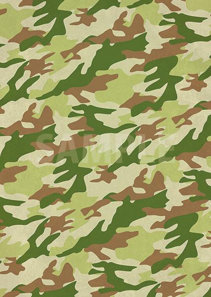 緑と茶色の迷彩柄のA4サイズ背景素材
