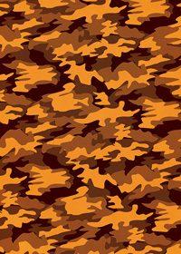 オレンジ色の迷彩・カモフラージュ柄のA4サイズ背景素材