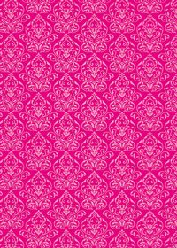 ピンク色のダマスク柄壁紙のA4サイズ背景素材