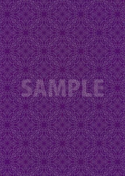 紫色のアラベスク柄のA4サイズ背景素材