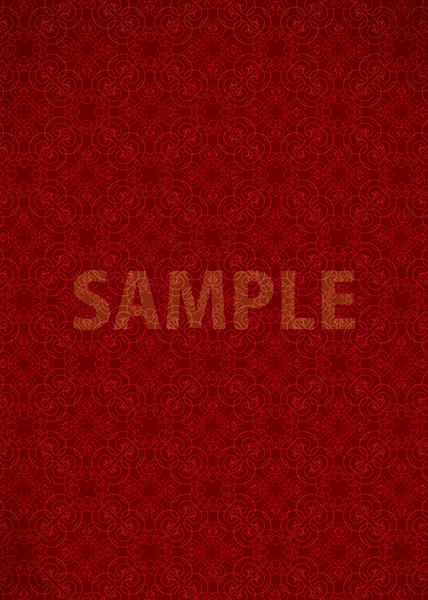 赤色のアラベスク柄のA4サイズ背景素材