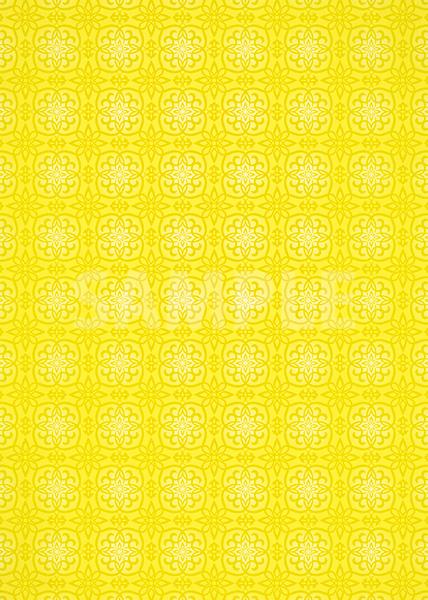 黄色い西洋風模様のA4サイズ背景素材