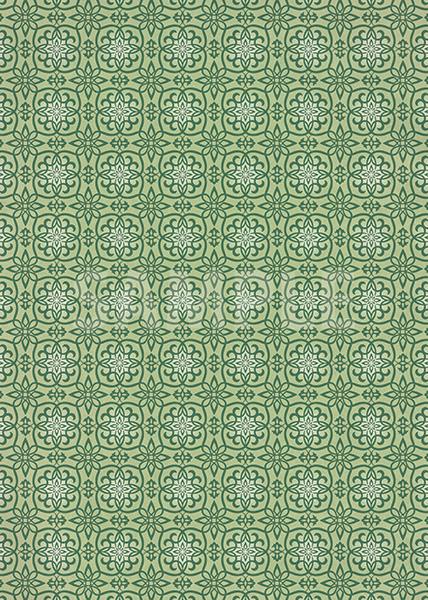 緑色の西洋風模様のA4サイズ背景素材