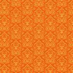 オレンジ色のダマスク柄壁紙のA4サイズ背景素材データ