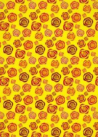 黄色背景のバラのイラストのA4サイズ背景素材