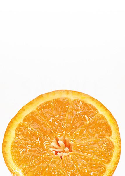 半身のオレンジのA4サイズ背景素材