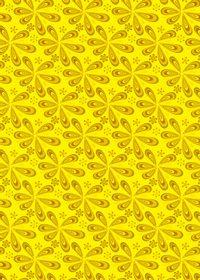 黄色のペイズリー柄のA4サイズ背景素材