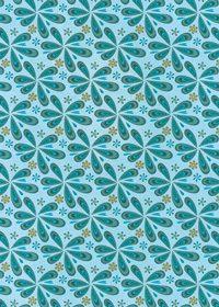青色のペイズリー柄のA4サイズ背景素材