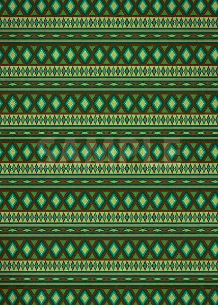 緑色のエスニック柄のA4サイズ背景素材