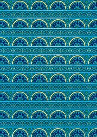 青色のエスニック調のA4サイズ背景素材