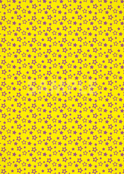 黄色背景の星型が散らばるA4サイズ背景素材