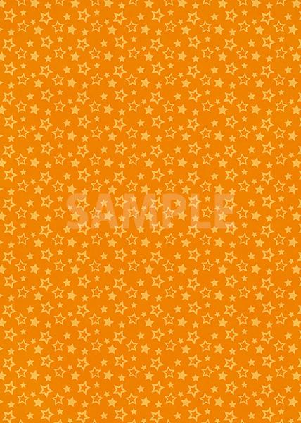 オレンジ色の星型が散らばるA4サイズ背景素材