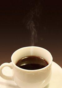 茶色背景の湯気立つコーヒーのA4サイズ背景素材